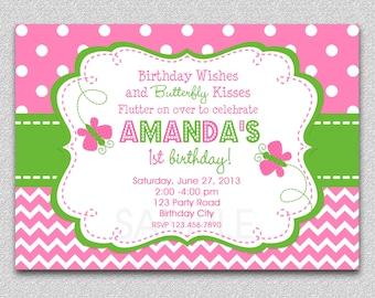 Butterfly Birthday Invitation,  Butterfly Birthday Party Invitation, Girls Butterfly Picnic Invitation, Butterfly Birthday Party Invitation