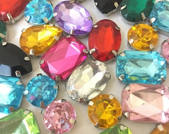 Acrylic Sew on Faceted Crystals, Rhinestones, Diamantes, Dress Making, Montees (MIXED random Shapes and Colours (50pcs))