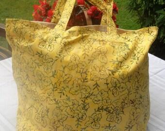 Batik Shopping Bag, Boho Bag, Large Grocery Bag, Day Bag, Jumbo Market Tote, Choose Rust, Yellow, Purple Batik