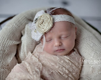 Stretch Lace Wrap Cream Newborn Photography Prop Baby Swaddle