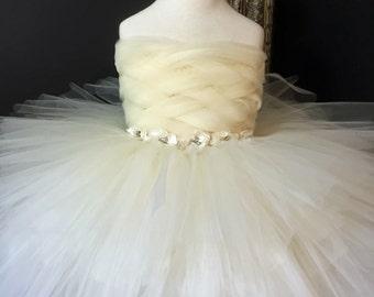 Ivory Flower Girl Dress with Basket Weave Bodice
