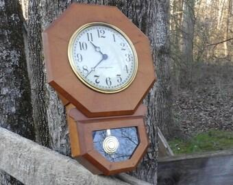 Vintage General Electric Wall Clock, Small Wall Clock, Vintage Clock, Kitchen Clock, Retro Clock, Plug in Wall Clock, Small Regulator Clock