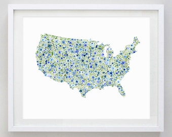 United States USA Floral Watercolor Art Print