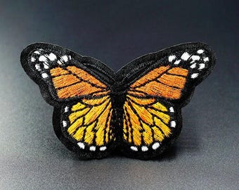 "Monarch Butterfly Iron on Embroidered patch (3.0""-1.75"")"