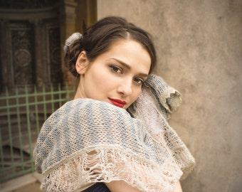 summer gift - large knit scarf - bohemian shawl - linen scarf - extra long - bohemian clothing - blue ecru shawl - spring fashion