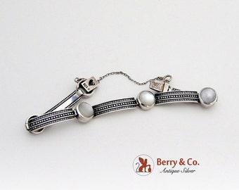 SaLe! sALe! Vintage Sterling Silver Bracelet Mother of Pearl