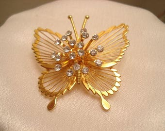 Vintage MONET Butterfly Brooch Rose-Gold-Tone With Stunning Rhinestone Raised Center