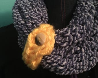 Fingger knitted infinity scarf in multi-colors, and so many ways to wear them.
