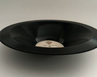 """a-ha Smooth Vinyl Record Bowl Hand Made from Upcycled Vinyl Record """"Hunting High and Low"""""""