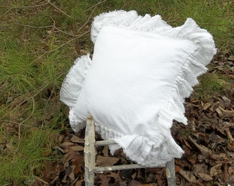 Ruffled Linen Pillow Custom Sizes Fabrics Torn Ruffle Pillow Sham Decorative Pillow Bedroom Pillow French Country Prairie Farmhouse Cottage