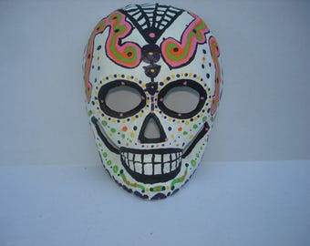 "8"" Hand Painted Sugar Skull Day of the Dead Mask"