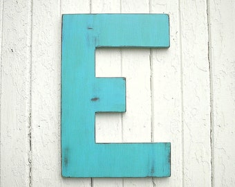 """Wooden Letter 24"""" E, Wedding Guest Book, Signage, Rustic, Shabby chic, Wall decor, Large Letter E, Home decor, Gifts"""