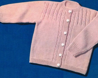 Toddler cable yoked sweater knitting pattern PDF / Cabled yoke baby cardigan pattern / Vintage baby cardigan pattern / baby jacket