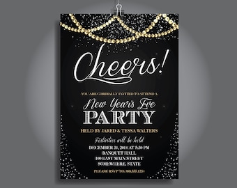 New Years Eve Party Invitation, New Year's Eve Party Invitation, New Years Invite