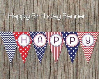 Birthday Decorations Happy Birthday Banner diy Bunting Banner Digital Printable Party Navy Blue Red Banner INSTANT DOWNLOAD Banner 002