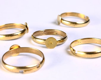 6mm gold color ring - 6mm pad ring - blank ring - adjustable ring - lead free cadmium free nickel free (845)