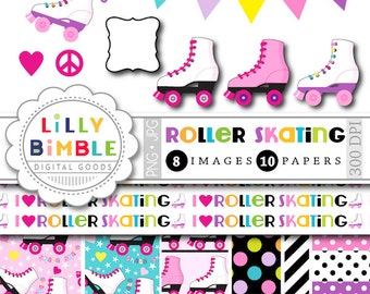 Roller Skating clipart for birthday parties, invites, roller derby, skates, digital papers, printables INSTANT DOWNLOAD