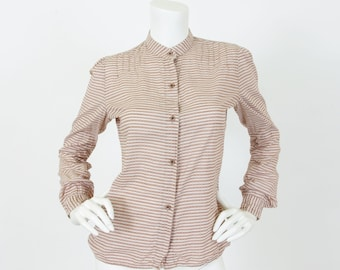 CLEARANCE Laura Ashley 1970's Vintage Pintuck Brown and White Striped Button Up Blouse Sz S