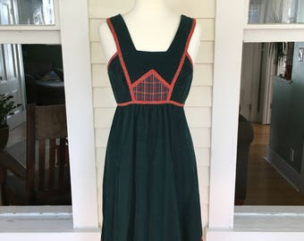 Vintage 1970's Green Corduroy Jumper Dress