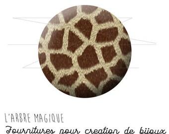 2 cabochons glue giraffe animal skin wild ref 1569 - 18 mm