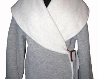Fleece Wrap Jacket Light Grey