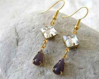 Japanese Amethyst Teardrop Glass Stones and Crystal Rhinestone Earrings, Dangle Earrings, Mom and Sister Gift