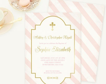 Baptism Invitation, Pink and Gold, Confirmation, Holy First Communion Invite, Christening, Girl, Printable Religious Party, Cross, DIY