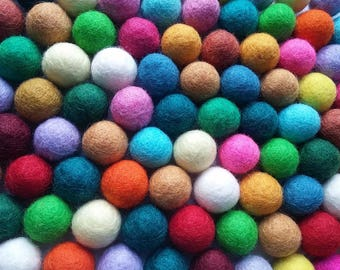 Felt Balls Color Mix - 50 Pure Wool Beads 20mm - Multicolor Shades