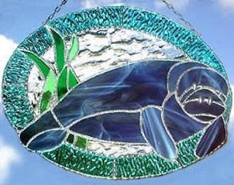 "Stained Glass Suncatcher, Manatee Sun Catcher, Nautical Decor, Tropical Home Decor, Glass Manatee, Tropical Sun Catcher,  10"" x 12"" - 9534"