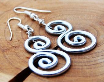 Aluminum Earrings, Scroll, Spiral. Wire Jewelry.