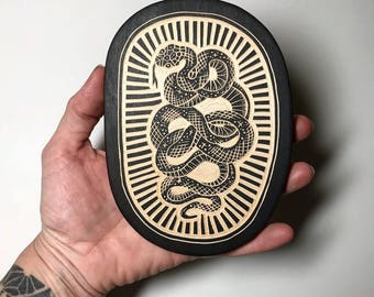 Hand Carved Snake Woodcut Wall Art
