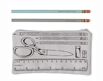 Cute pencil case with vintage style illustration, writers zipper pouch, back to school pouch