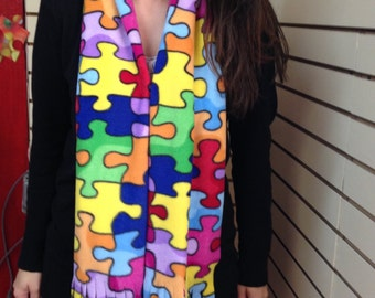 Jigsaw Puzzle ribbon pattern scarf.  Jigsaw Puzzle Apparel that's fun, inexpensive and fashionable.