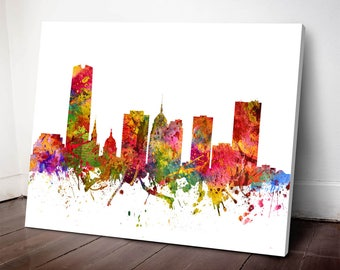 Oklahoma City Skyline Canvas Print, Oklahoma Cityscape, Oklahoma City, Oklahoma Art Print, Home Decor, Gift Idea, USOKOC08C