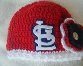 Crocheted Cardinals Inspired Baby Girl Beanie/Hat - MADE TO ORDER - Handmade by Me