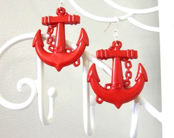 Red Anchor Earrings Nautical Rockabilly Pin Up