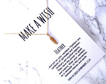 Feather necklace, make a wish necklace, simple dainty chain necklace, friendship gift, delicate minimalist necklace, everyday jewelry