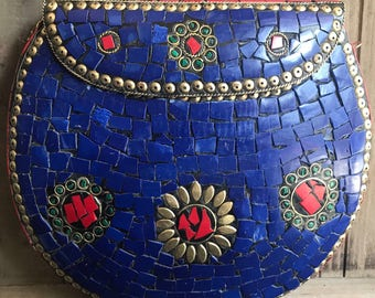 Handmade bag, Clutch/ Sling bag, Metal, vintage, Brass, stone, mosaic,Embossed, Gold, Bohemian, BOHO, Hippie, Gypsy ,mothers day gift
