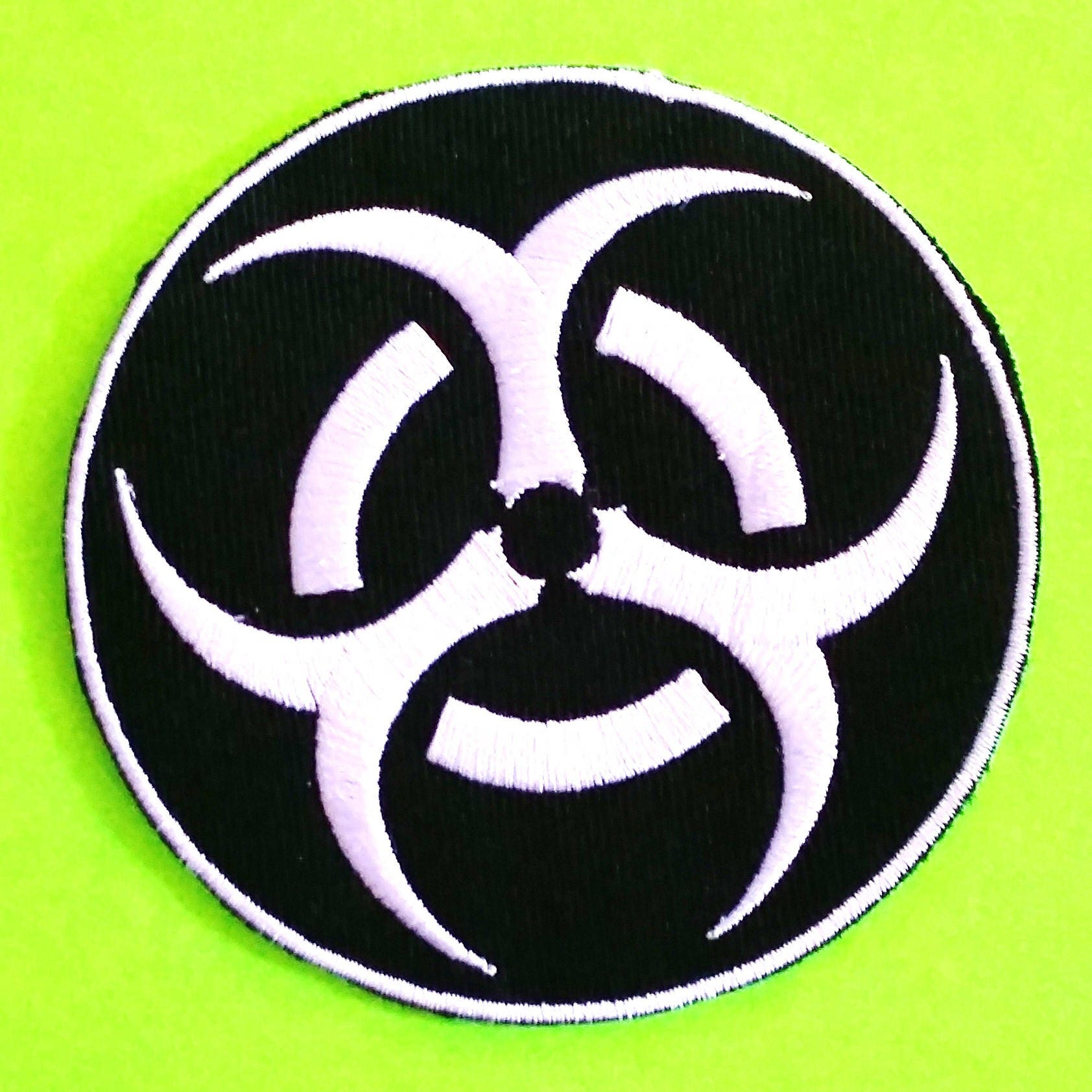 Biohazard Symbol Toxic Zombie Warning Patch Black And White