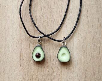 Avocado friendship necklaces, avocado necklaces, polymer clay avocados, polymer clay food, miniature avocados, food friendship necklaces
