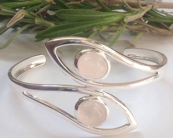Cuff bangle, Rose quartz cuff bangle, Rose quartz bracelet, gemstone bangle, gemstone bracelet