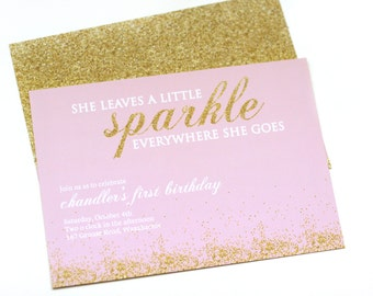 Printable gold glitter invitation - Pink and gold - She leaves a little sparkle everywhere she goes - Birthday invitation - Customizable