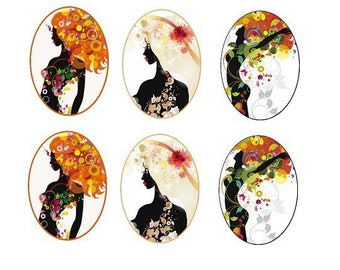 "13x18mm, 3 pairs of cabochons ""woman"""