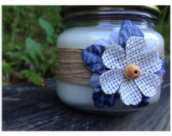 Soy Candle - Farmhouse - Wooden Wick- Burlap Flower- Scented Jar Ca