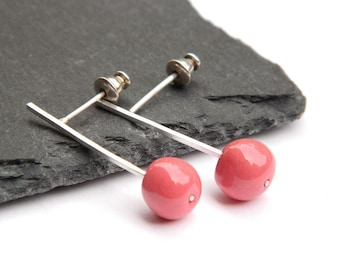 Sterling silver and white or red porcelain Drop earrings