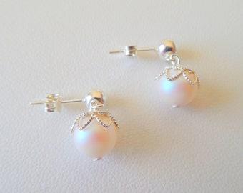 Swarovski pearl and silver earrings