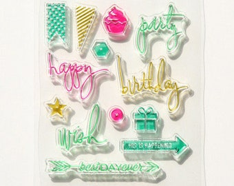 "Clear stamps /pattern ""Happy birthday""/stamp/creative supply/scrapbooking/ go back to school"
