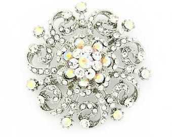 Iridescent Crystal Rhinestone Brooch, Silver Wedding Brooches, Bridal Brooch, Aurora Borealis Bouquet Brooches, AB Crystal Broaches Crafts