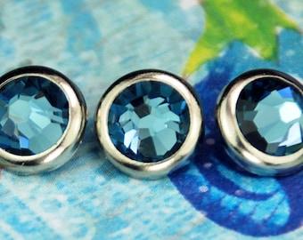 10 Denim Crystal Hair Snaps - Round Silver Rim Edition -- Made with Swarovski Crystal Element Rhinestones
