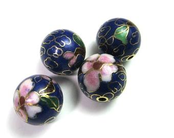 6 Vintage 10mm Cobalt Blue Round Floral Cloisonne Bead Bd1486